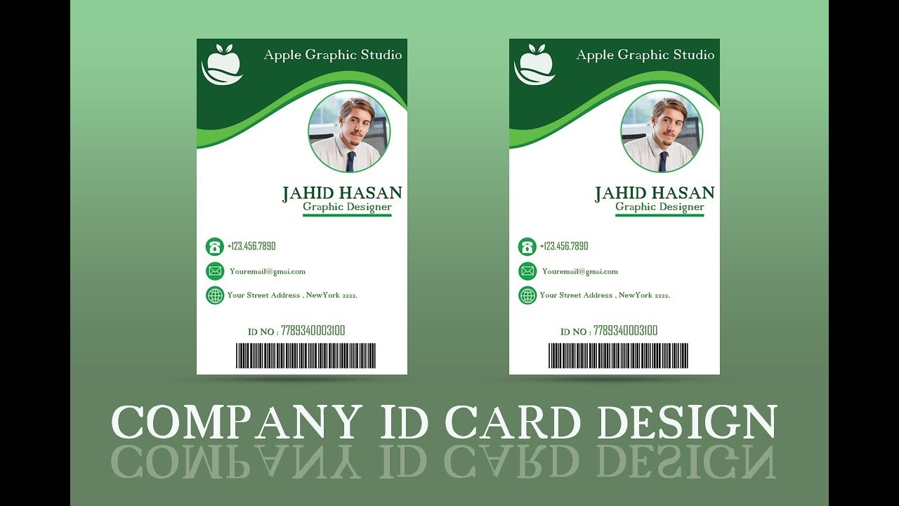 company id card design tutorial ii photoshop cc 2018 youtube