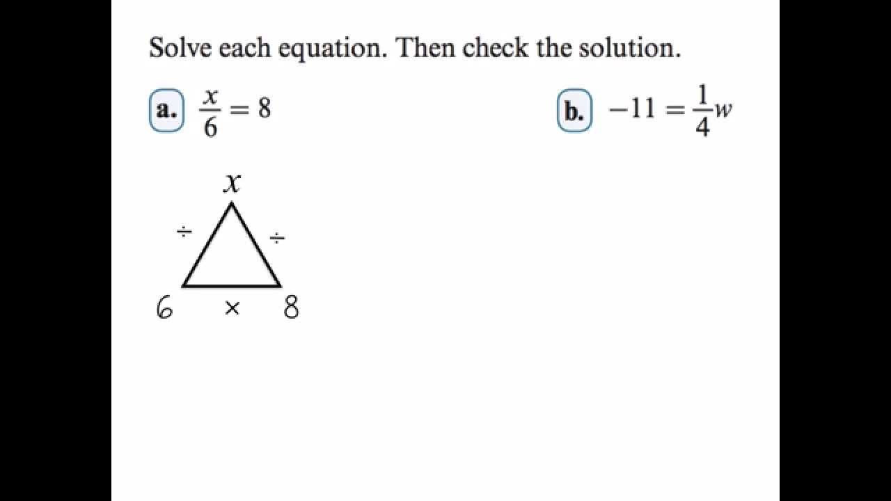worksheet Fact Triangles Multiplication And Division Worksheets solving multiplication and division equations using fact family triangles youtube