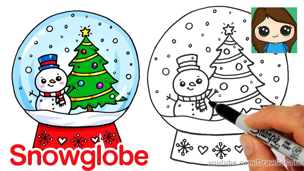 A Christmas Snow.How To Draw A Christmas Snow Globe Cute And Easy