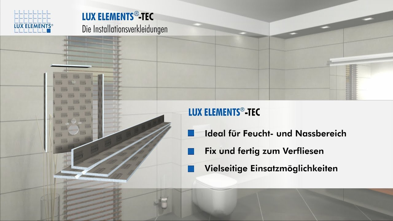 lux elements produkt tec verkleidungselemente f r rohre und vorwandinstallationen youtube. Black Bedroom Furniture Sets. Home Design Ideas