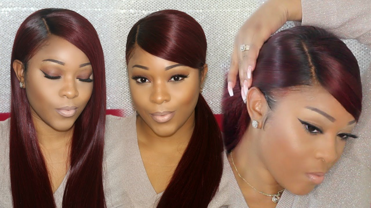 Weave Ponytail Tutorial Deep Side Part W Deep Swoop On A Wig Rpgshow