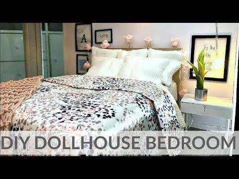 Diy Miniature Bedroom Bed Nightstand Decor Youtube