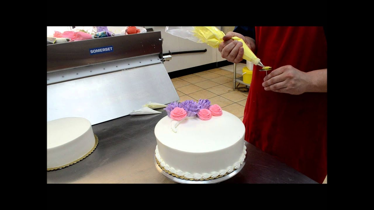 Birthday Cake with Cream Flowers Butter Cream Flowers YouTube