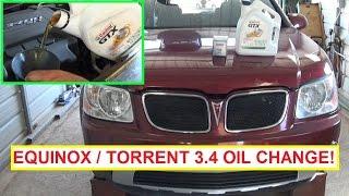 Chevrolet Equinox Pontiac Torrent 3.4 Oil Change.  How to Change the oil on Torrent or Equinox