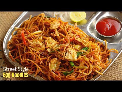 ఎగ్ న్యుడిల్ || how to make easy street food style egg noodles at home in telugu by vismai food