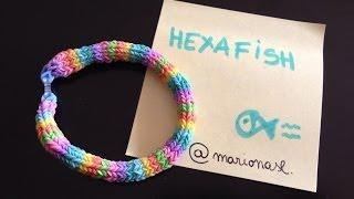 D.I.Y. pulsera de gomitas HEXAFISH con telar RainbowLoom. (Difícil) [tutorial en español]