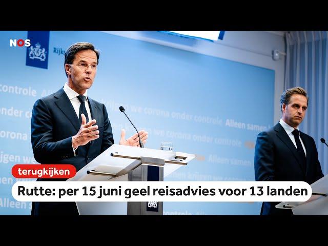 Persconferentie premier Rutte over de vakanties & vragen over de demonstraties