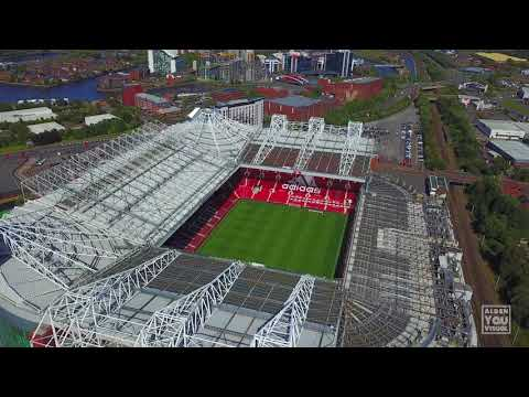 Manchester United Old Trafford Stadium and Nearby Aerial View [4K]