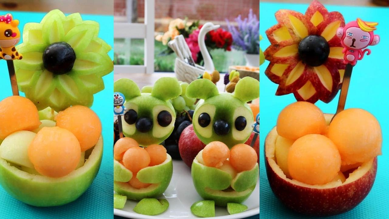 2 Simple Fruit Carving Ideas | Apple Show - YouTube