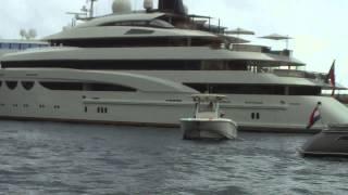 Quatroelle mega-yacht with EC-135 helicopter tender in migraine livery! monaco 2013