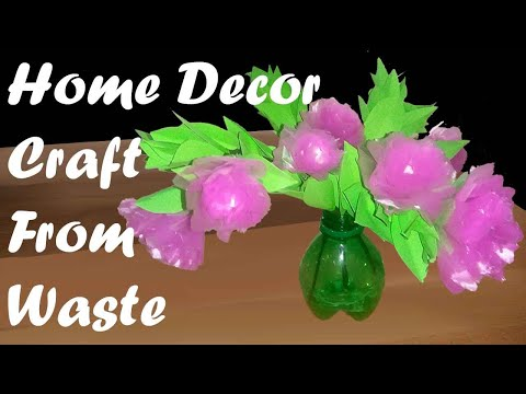 Flower Craft | Home Decor | Using Plastic Cover & Paper