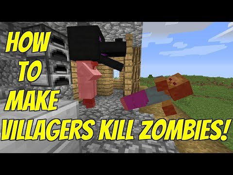 How To Make Villagers KILL Zombies! [REALLY WORKS]- | 1.13-1.12 Minecraft