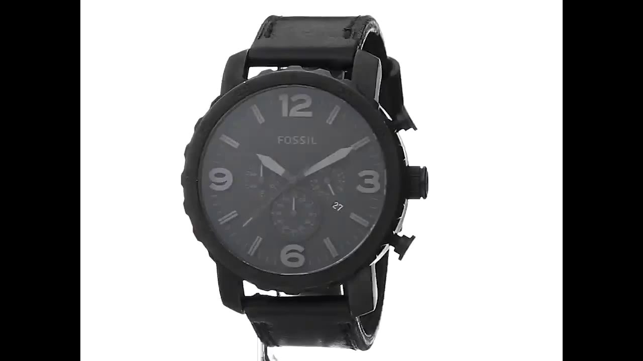 99853e08ddc Fossil Men s JR1354 Nate Stainless Steel Chronograph Watch with Black  Leather Band