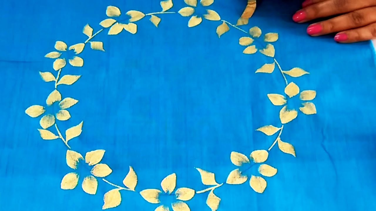 DIY : One Stroke Floral Wreath Painting on Fabric | Easy & Very Simple  Fabric Painting Ideas