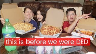 DOMINOS MUKBANG WITH MY BOYFRIEND & MY BROTHER (DREW PHILLIPS)