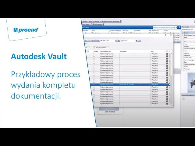 Przykładowy proces wydania kompletu dokumentacji w Autodesk Vault Professional