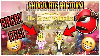 ROBLOX EGG HUNT 2018 - HOW TO CALM DOWN ANGRY EGG AND GET THROUGHT THE CHOCOLATE FACTORY!