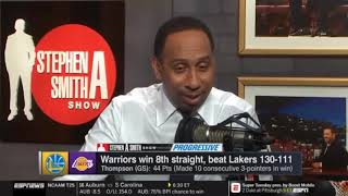 Stephen A. Smith reacts to Klay Thompson 44 points vs. Lakers