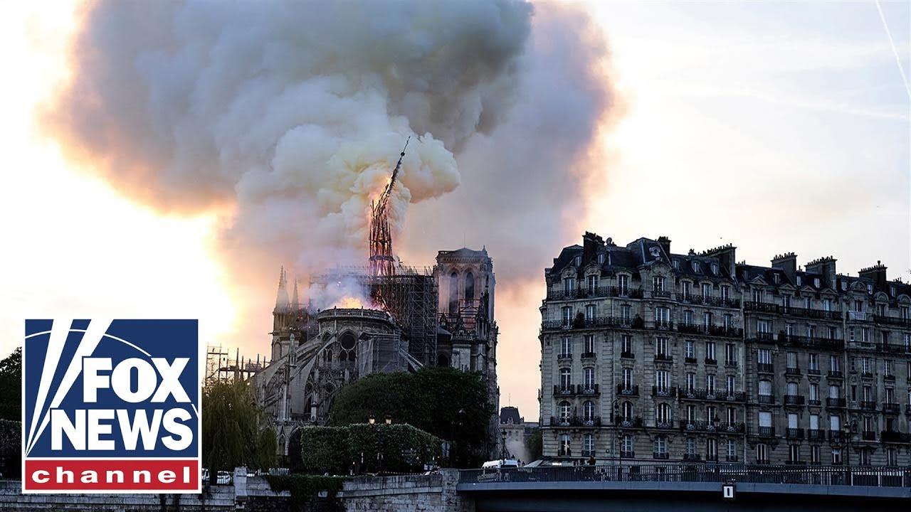 Views of the Notre Dame Cathedral before, after, and during blaze