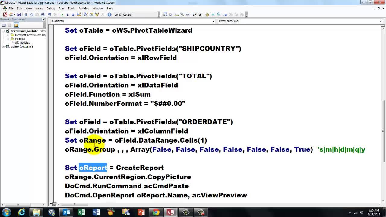 Access Vba To Create Pivot Table Reports