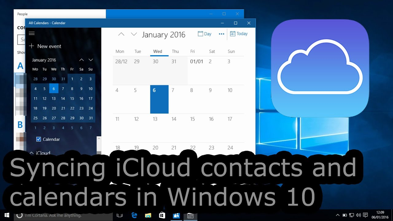 Calendario Windows 10 Su Desktop.Syncing Icloud Contacts And Calendars In Windows 10