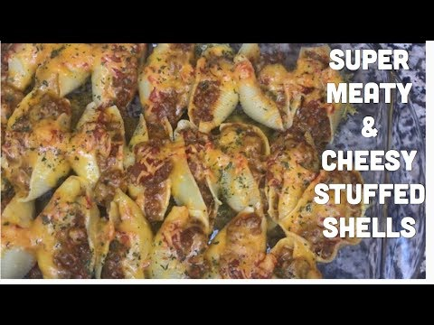 Super Easy Meaty And Chessy Stuffed Shells | Dinner Recipes With Ground Beef