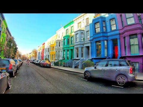4K London Walk - NOTTING HILL walk via  PORTOBELLO ROAD