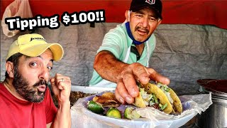 TIPPING $100 Dollars For TACOS In Mexico - ULTIMATE Mexican Street Food - Street Tacos On A Highway