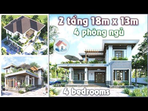 Mẫu nhà biệt thự 2 tầng mái Nhật thiết kế đẹp, 4 phòng ngủ, diện tích 18x13m ● 3D House