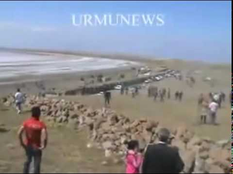 People clashes with riot forces beside Lake Urmia - Iran Orumieh 2 April 2010