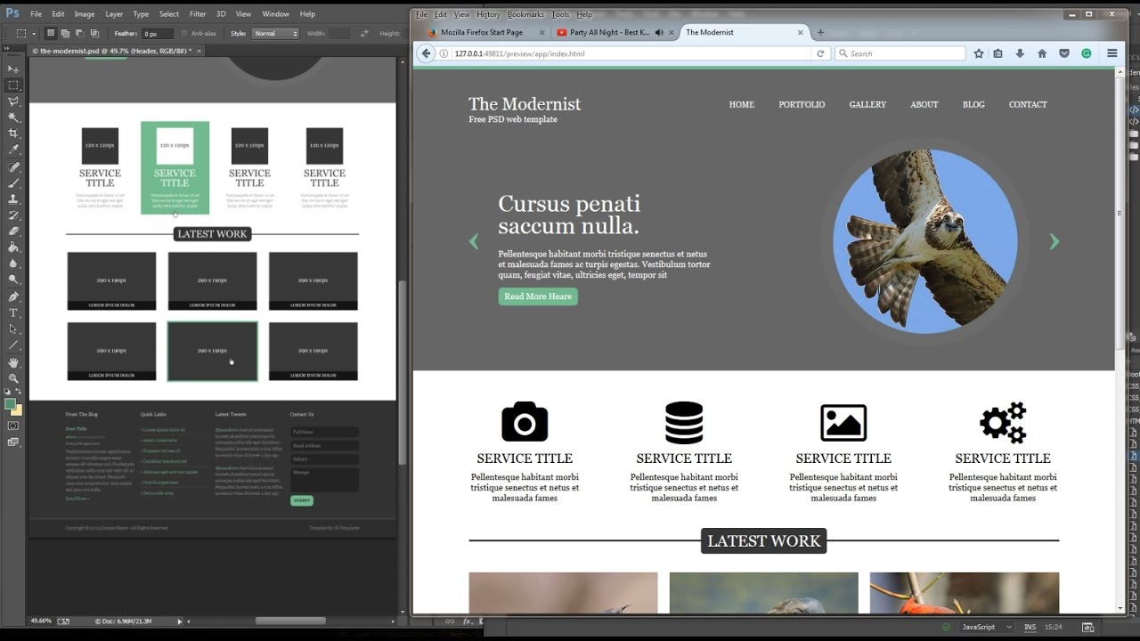 PSD to HTML/CSS and JQuery fully responsive front page website ...