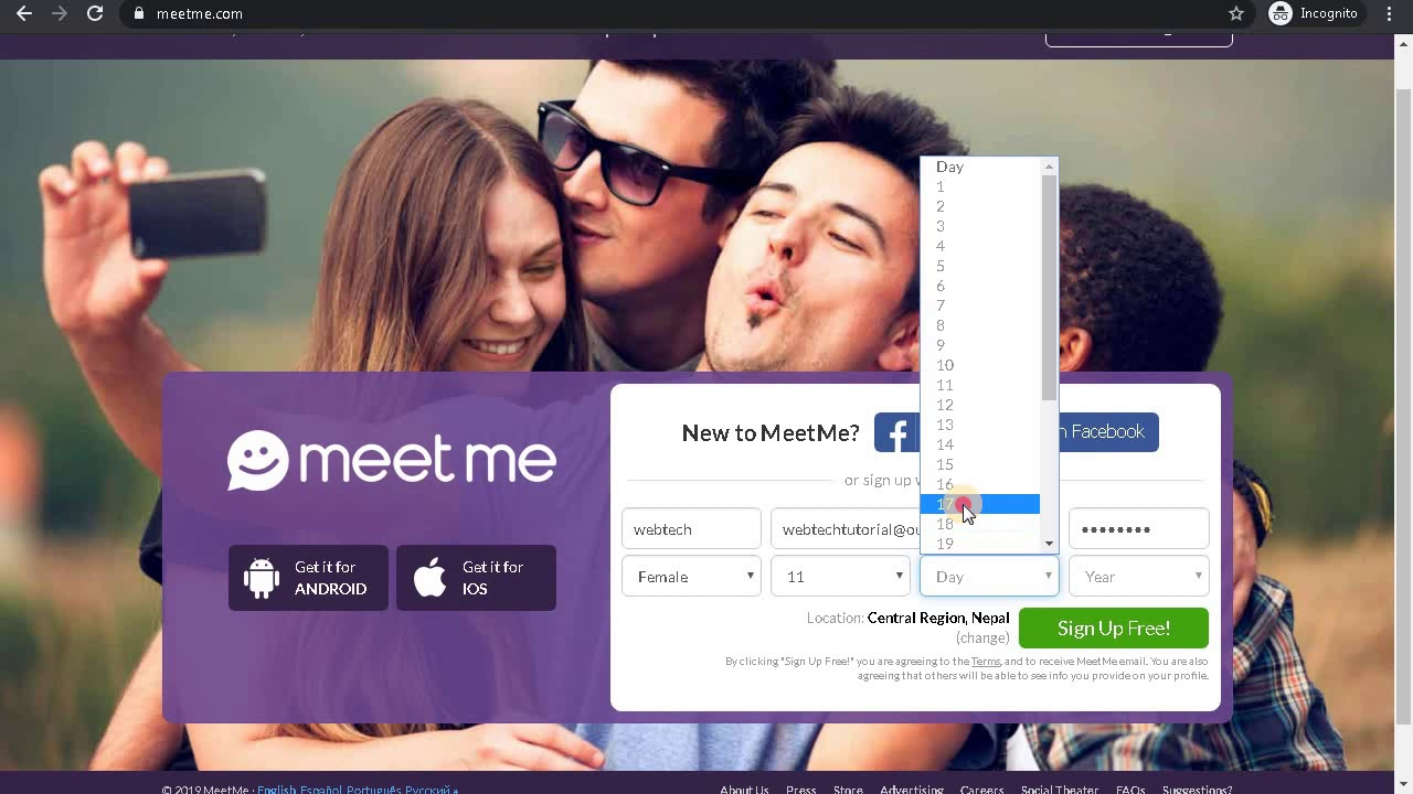 Meetme sign up problems