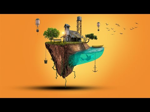 3D Floating Island Photoshop Digital Art Tutorial