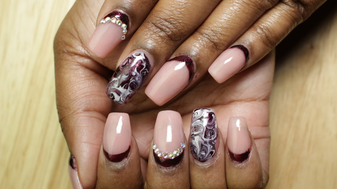 Short Acrylic Nails | Marble Nail Art | LongHairPrettyNails - YouTube