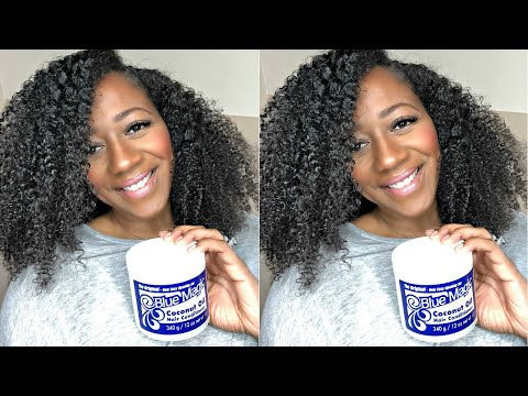 BLUE MAGIC HAIR GREASE ON NATURAL HAIR? COCONUT OIL REVIEW AND DEMO
