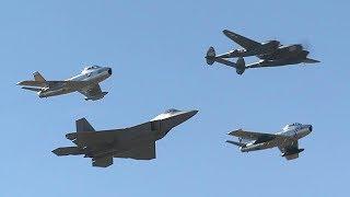F-22 Raptor Demo Team Airshow. Featuring: F-22, F-16, P-51, P-38, F-86.