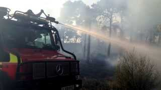 Surrey Fire and Rescue Service tackling a 30 hectare wildfire near Pirbright