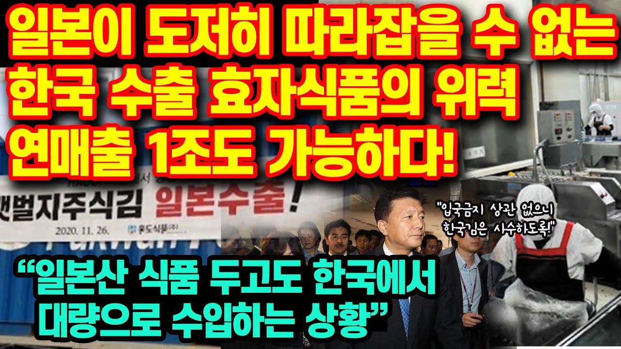 """일본이 도저히 따라잡을 수 없는 한국 수출 효자식품의 위력 연매출 1조도 가능한 상황""""일본 정치인마저 반해버린 식품"""" """"일본산 식품 두고도 한국에서 대량으로 수입하는 상황"""