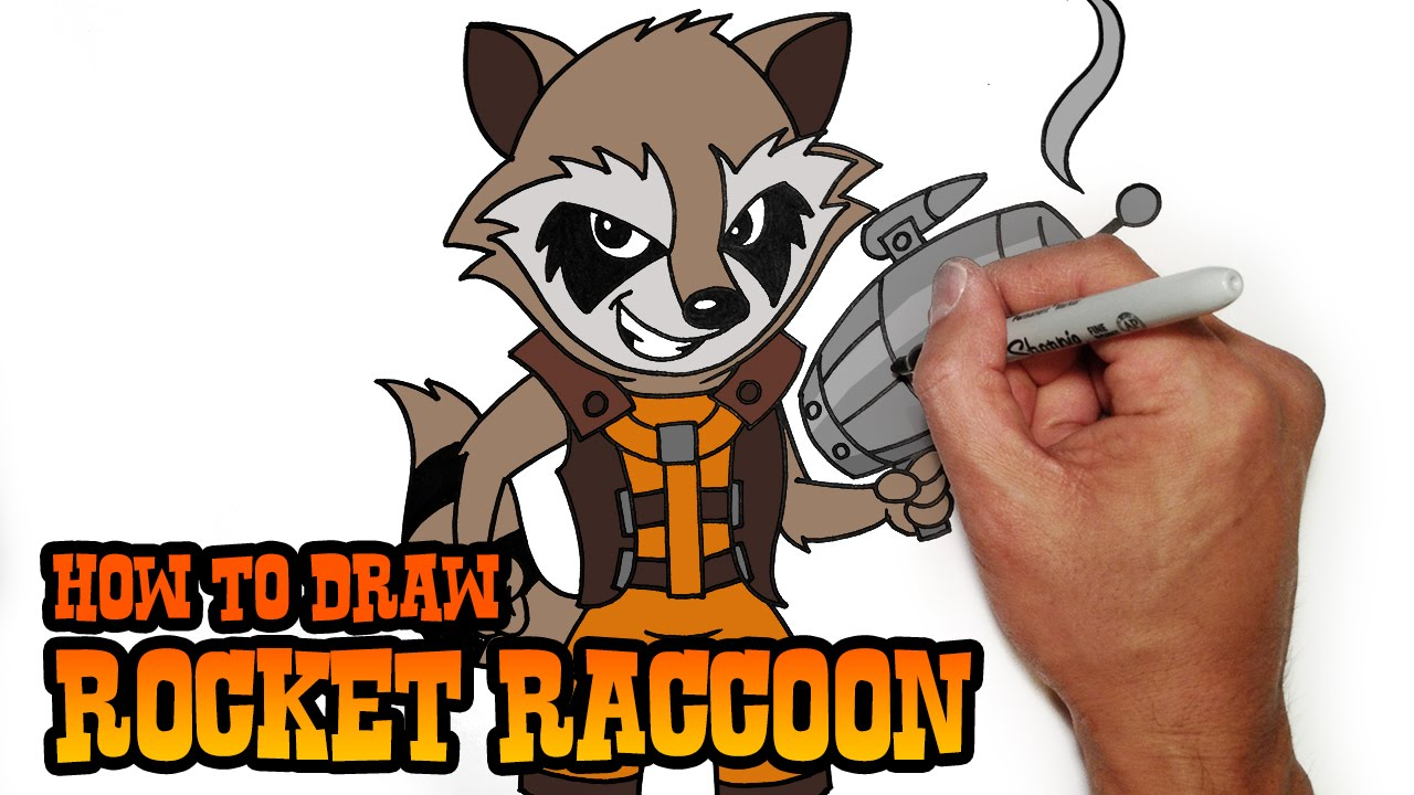 how to draw rocket raccoon step by step video lesson youtube
