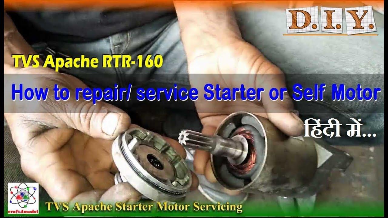 TVS Apache Starter or Self Motor Servicing DIY