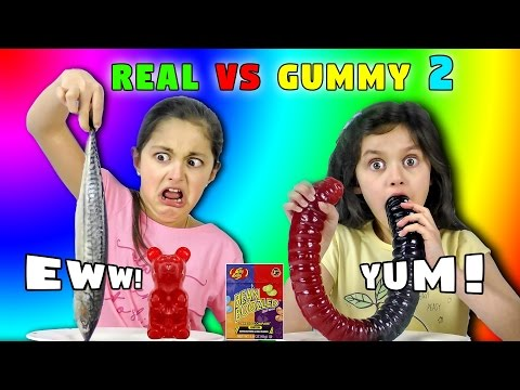 Thumbnail: REAL FOOD Vs GUMMY FOOD Challenge 2! Giant Gummy Worm v Super Gross Food Candy Challenge Kids React