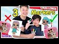 3 Marker Challenge & Daddy LOL Surprise Baby Doll Lunch Box Switch up Challenge