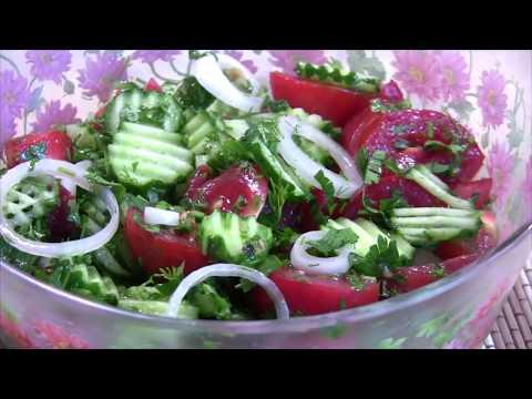 Как приготовить салат из огурцов и помидор с оливковым маслом