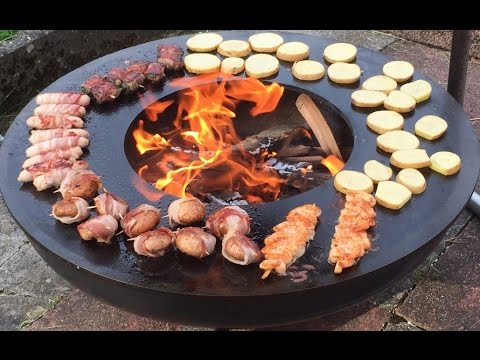 feuerschale mit teppanyaki grillring youtube. Black Bedroom Furniture Sets. Home Design Ideas