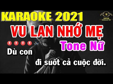Vu Lan Nhớ Mẹ Karaoke Tone Nữ Nhạc Sống 2021   Trọng Hiếu