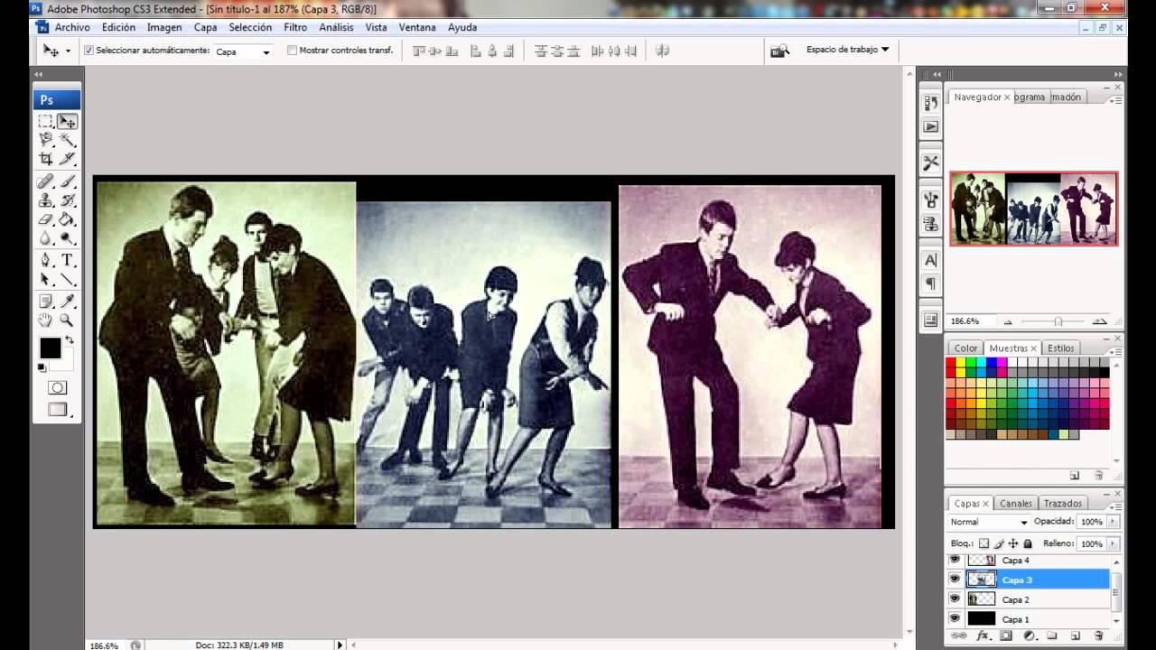 Como poner varias imágenes en una sola, con photoshop cs3 - YouTube