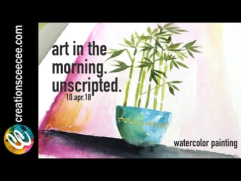 how to paint a bamboo plant with watercolor