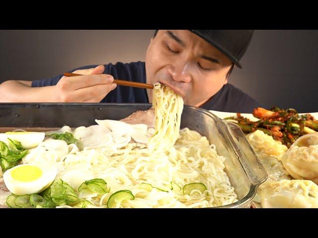 시원한 물국수와 왕만두, 파김치 먹방~!! 리얼사운드 ASMR social eating Mukbang(Eating Show)
