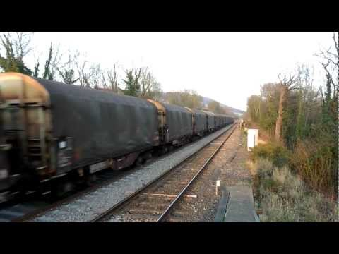 Rare Class 66846 Colas Rail. 6078 freight train (North Downs Line.) 11/03/2012