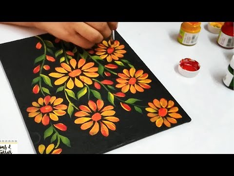 How to use Acrylic Paints on Black Canvas | Acrylic Painting Techniques | Acrylic Painting Tutorial